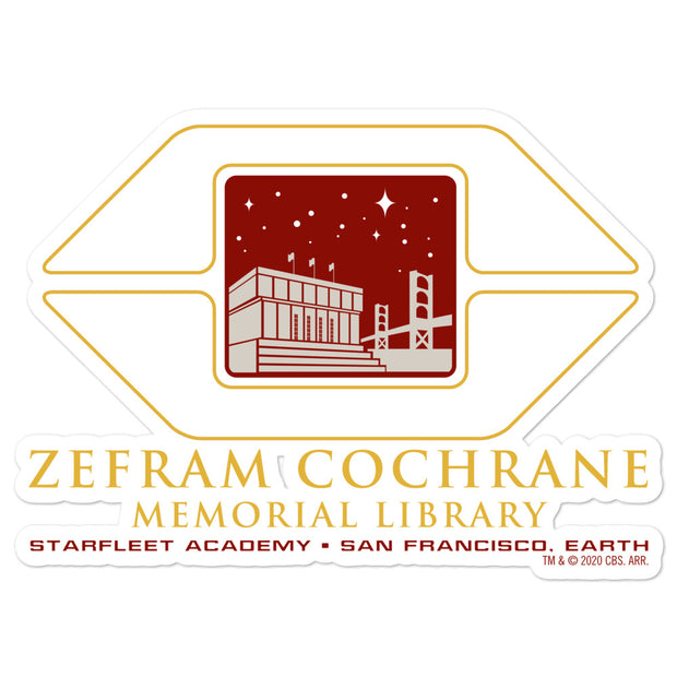 Star Trek Starfleet Academy Zefram Cochrane Memorial Library Die Cut Sticker