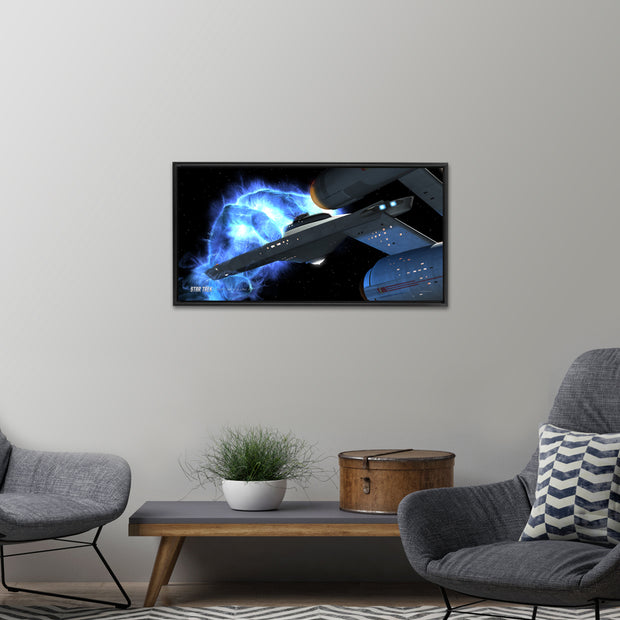 This Star Trek: The Original Series Ships of the Line Righteous Wrath Floating Frame Gallery Wrapped Canvas will take you back to this intense, heart-racing episode each time you see it! From the media room to your office, this canvas brings the spirit of Star Trek anywhere it goes.