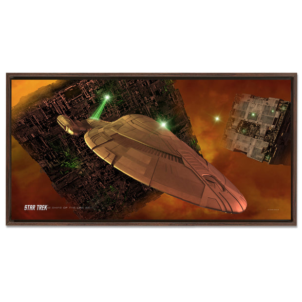 Star Trek: Voyager Ships of the Line Armored Voyager Floating Frame Wrapped Canvas