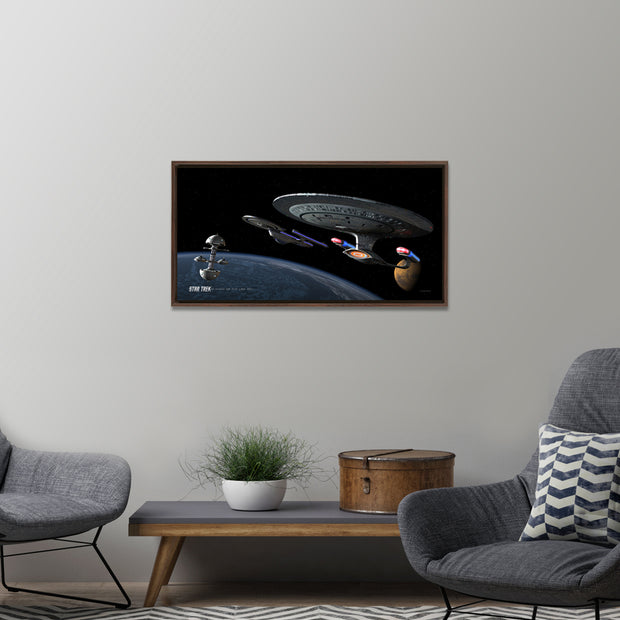 Star Trek: The Next Generation Ships of the Line Making for Deep Water Floating Frame Wrapped Canvas