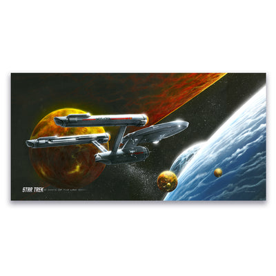Star Trek: The Original Series Ships of the Line Oceans of Blue and Seas of Fire Satin Poster