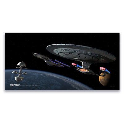 Star Trek: The Next Generation Ships of the Line Making for Deep Water Satin Poster