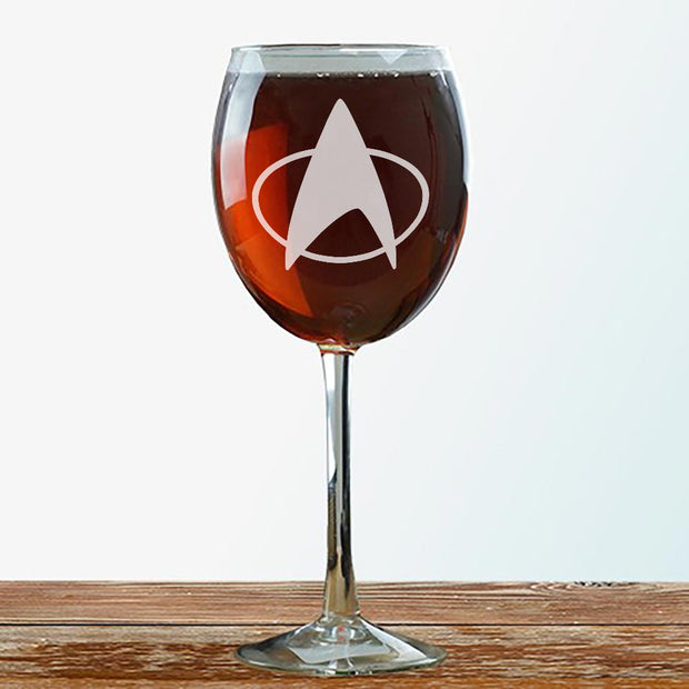 Star Trek: The Next Generation Delta Laser Engraved Wine Glass