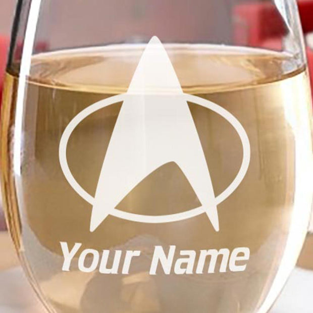 Star Trek: The Next Generation Delta Personalized Laser Engraved Stemless Wine Glass