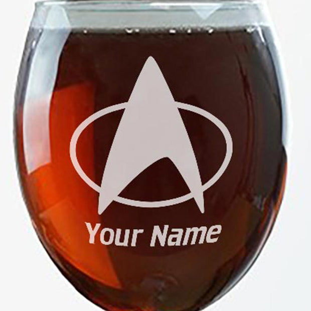 Star Trek: The Next Generation Delta Personalized Laser Engraved Wine Glass