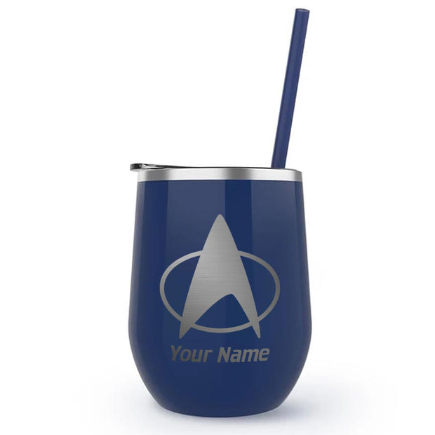 Star Trek: The Next Generation Delta Personalized Laser Engraved Wine Tumbler with Straw