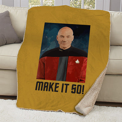 Star Trek: The Next Generation Make It So Portrait Sherpa Blanket
