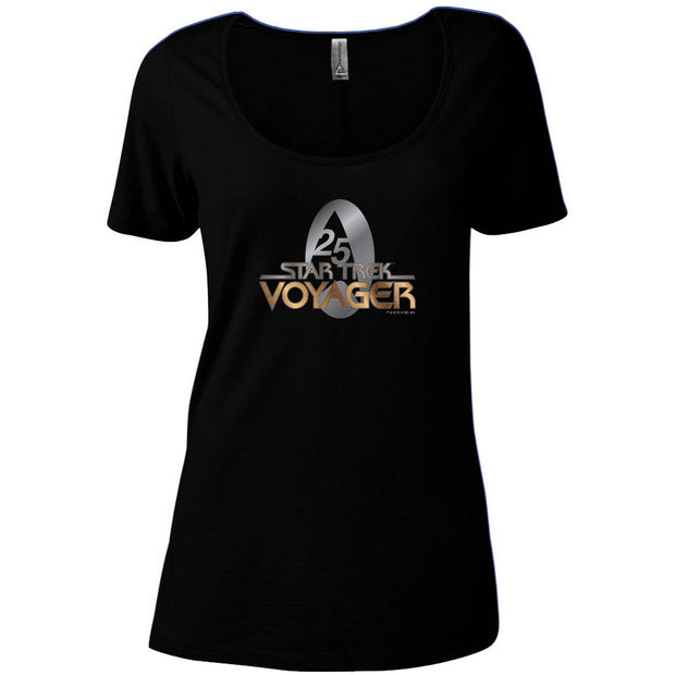 Star Trek: Voyager Gold 25 Logo Women's Relaxed Scoop Neck T-Shirt