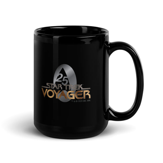 Star Trek: Voyager Gold 25 Logo Black Mug