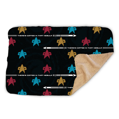 Star Trek: Voyager Coffee in that Nebula Badge Sherpa Blanket