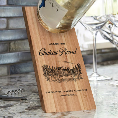 Star Trek: Picard Chateau Picard Vineyard Logo Wooden Wine Bottle Holder