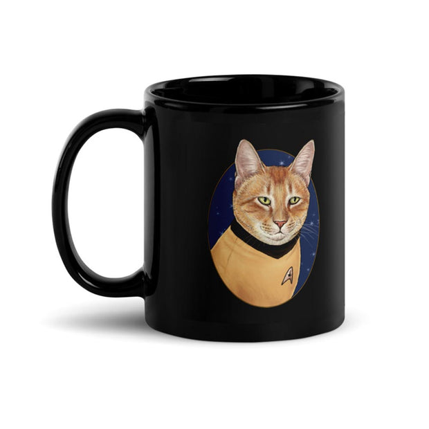 Star Trek: The Original Series Cat Captain Kirk Portrait Black Mug