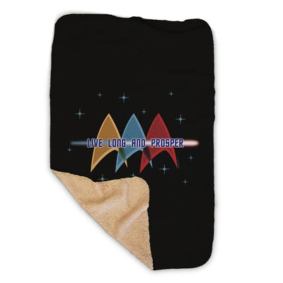 Star Trek: The Original Series Live Long and Prosper Deltas Sherpa Blanket