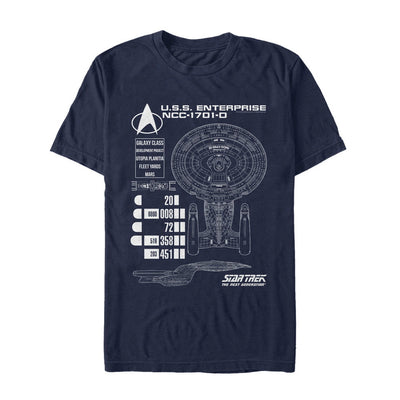 Star Trek: The Next Generation Enterprise Chart Graphic T-Shirt