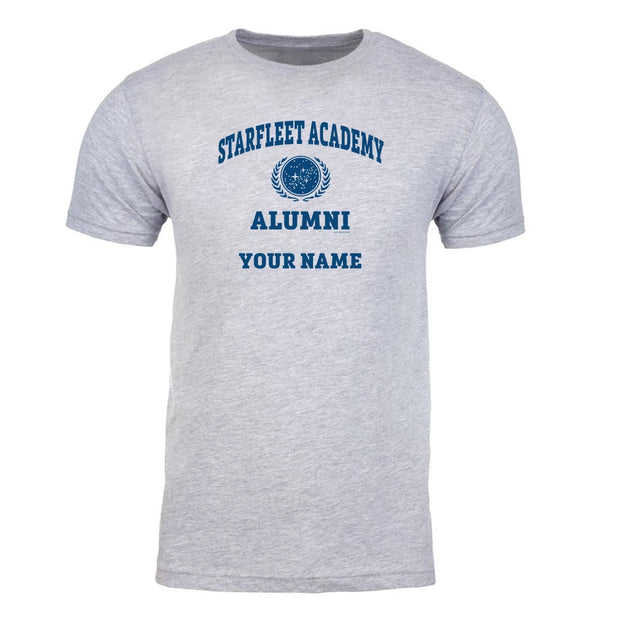 Star Trek Starfleet Academy Alumni Personalized Grey Adult Short Sleeve T-Shirt
