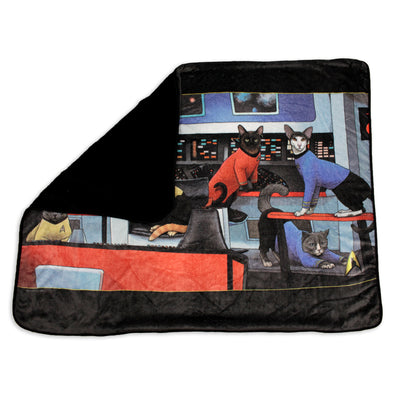 Star Trek: The Original Series Crew Cats Black Sherpa Blanket