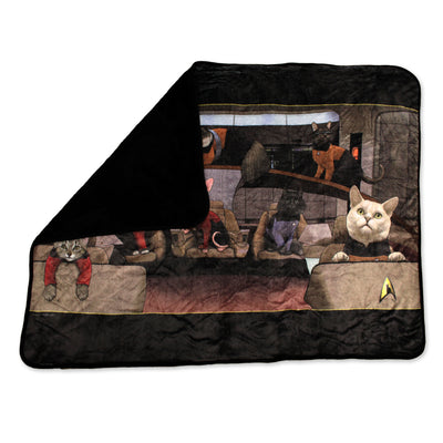 Star Trek: The Next Generation Crew Cats Black Sherpa Blanket