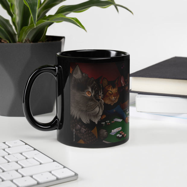 Star Trek: The Next Generation Poker Cats 11 oz Black Mug