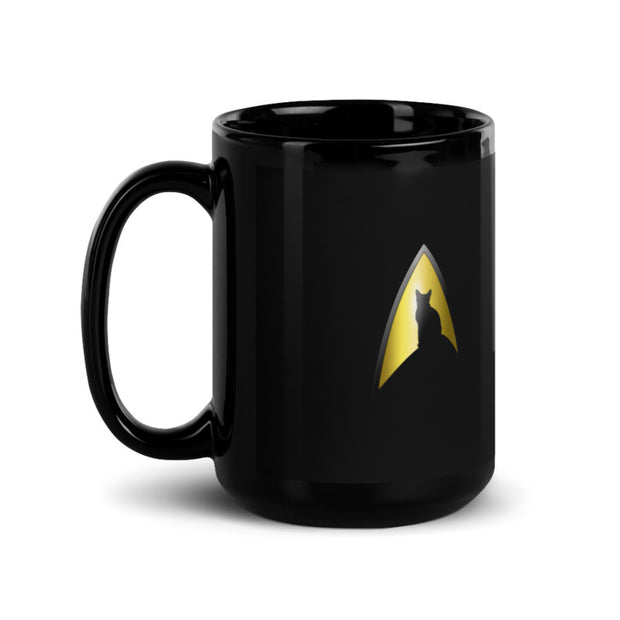 Star Trek: The Original Series Spock Cat Portrait Black Mug