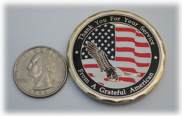 Grateful American Coin Compared to a Quarter
