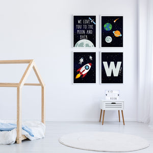 To the Moon Space Man Prints - Wall art print set or individual prints
