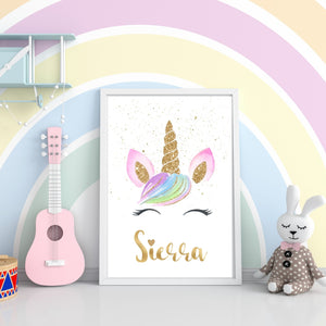 Gold Glitter Unicorn - Personalized Name Print