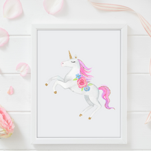 Load image into Gallery viewer, Glitter Unicorn Watercolor - mix and match print set