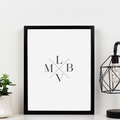 Family Monogram - Couples Monogram print - Husband Wife Monogram