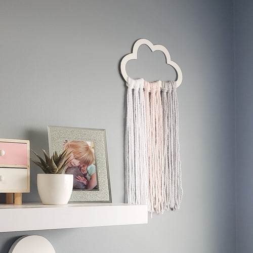 Wood cloud with yarn - Wall Decor - choose your color combo