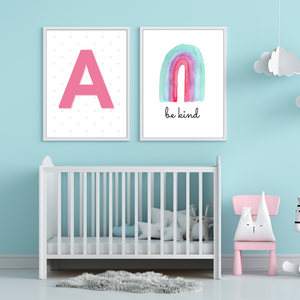 Polka dot Monogram Name Print - choose your color - Boys and Girls personalized Initial wall art