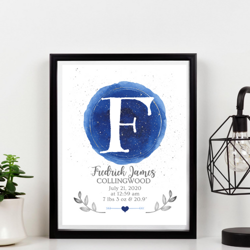 Watercolor and Silver Birth Info print - personalize for boys or girls