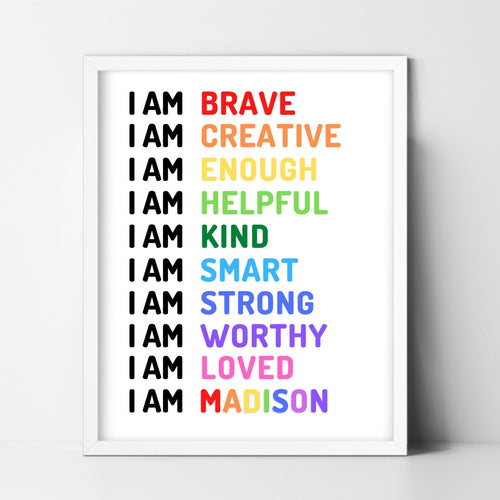 I AM* Affirmation Print - Inspirational kids bedroom wall art