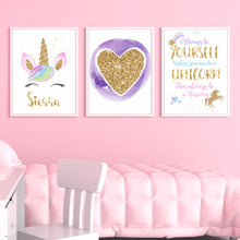 Load image into Gallery viewer, Gold Glitter Unicorn - Personalized Name Print