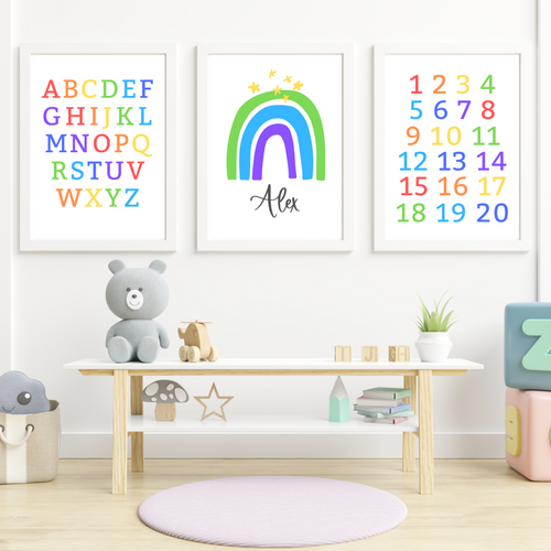 Simple Rainbow Print - choose your color - Boys and Girls personalized wall art