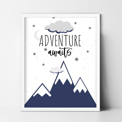 Adventure Awaits Print - 5x7, 8x10 or 11x14 wall art