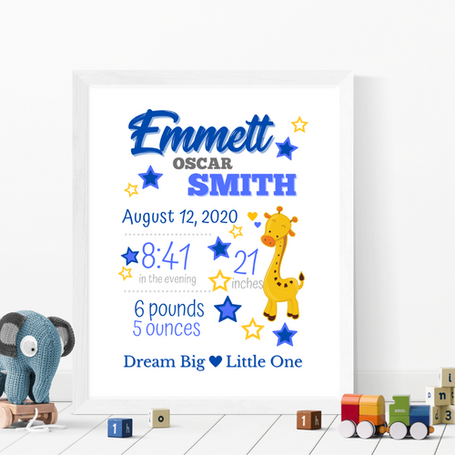 Animal Theme Birth Info print - personalize and customize