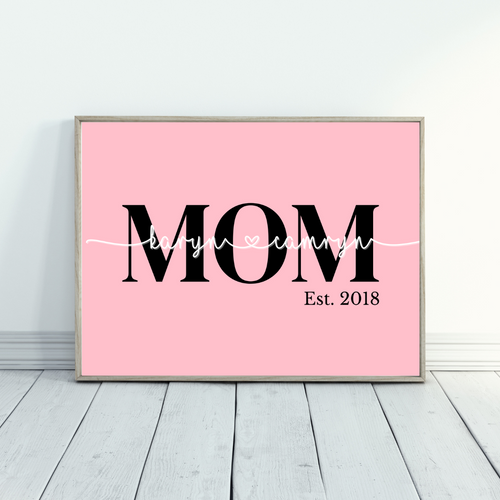 MOM - DAD established name overlay print - Gift for Mom, Gift for Dad