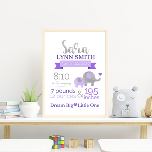 Elephant Theme Birth Info print - personalize and customize