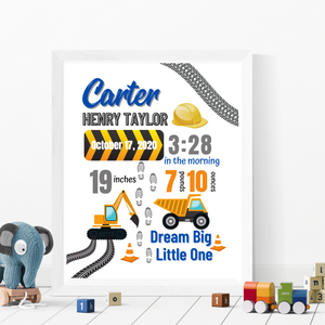 Construction Birth Info Print - Personalized nursery wall art
