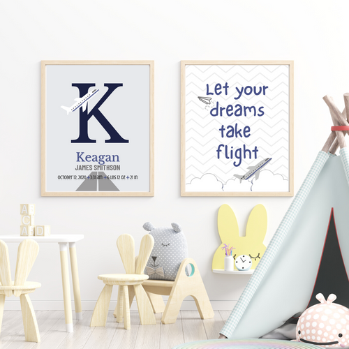 Take Flight Monogram print set - Wall art prints