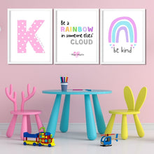 Load image into Gallery viewer, Be a Rainbow kids bedroom print - inspirational wall art