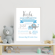 Load image into Gallery viewer, Elephant Theme Birth Info print - personalize and customize