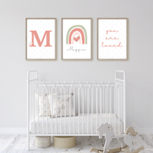 Load image into Gallery viewer, Polka dot Monogram Name Print - choose your color - Boys and Girls personalized Initial wall art