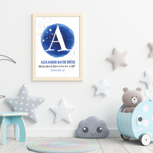 Galaxy Watercolor Birth Info print - personalized astrology monogram