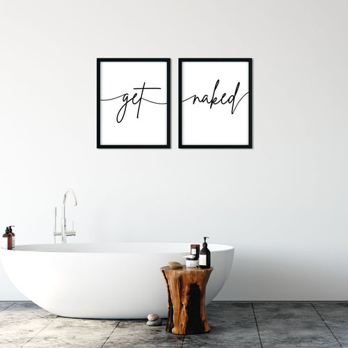 Get Naked Bathroom Bedroom Print Set - Wall art decor