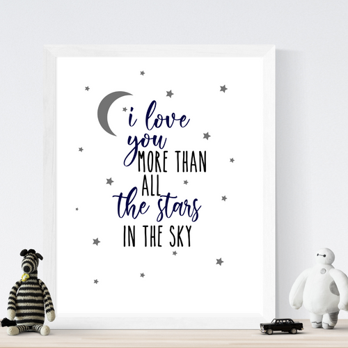 I Love You More Than all the Stars Print - Wall art nursery decor
