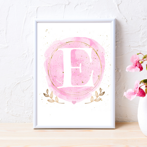Watercolor and Gold Birth Info print - personalize for boys or girls