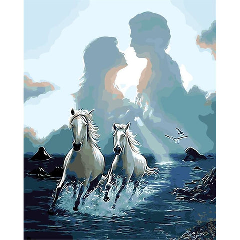 DIY Paint By Numbers Horses And Lovers Painting Kit Paint By Numbers Calming Paints