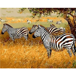 DIY Paint By Numbers Herd Of Zebras Painting Kit Paint By Numbers Calming Paints