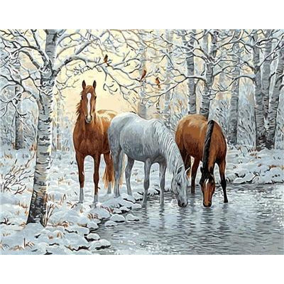 DIY Paint By Numbers Horses Drinking In The Winter Painting Kit Paint By Numbers Calming Paints